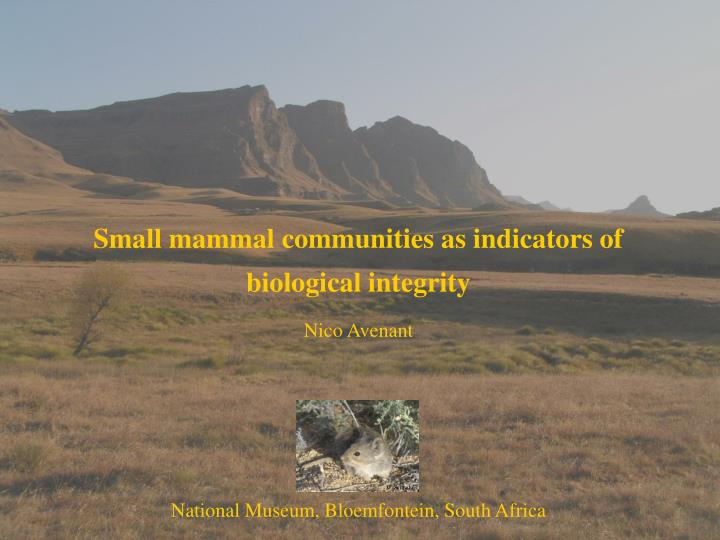 Small mammal communities as indicators of