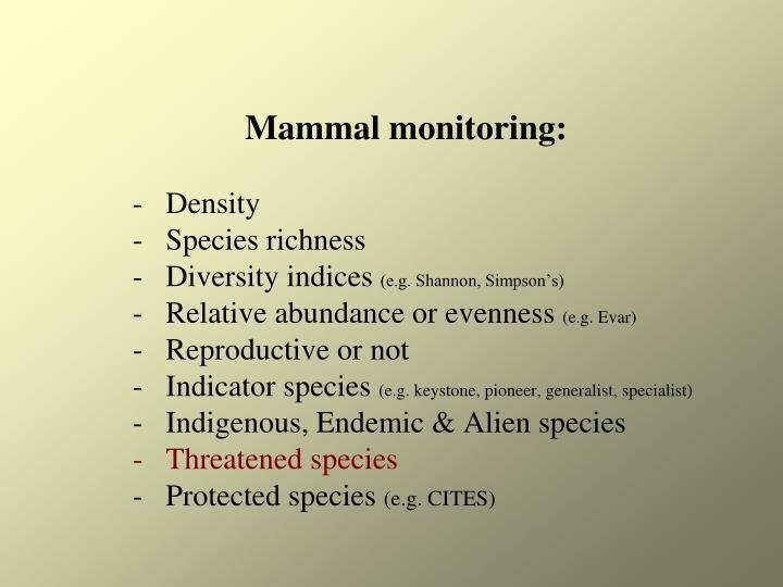 Mammal monitoring: