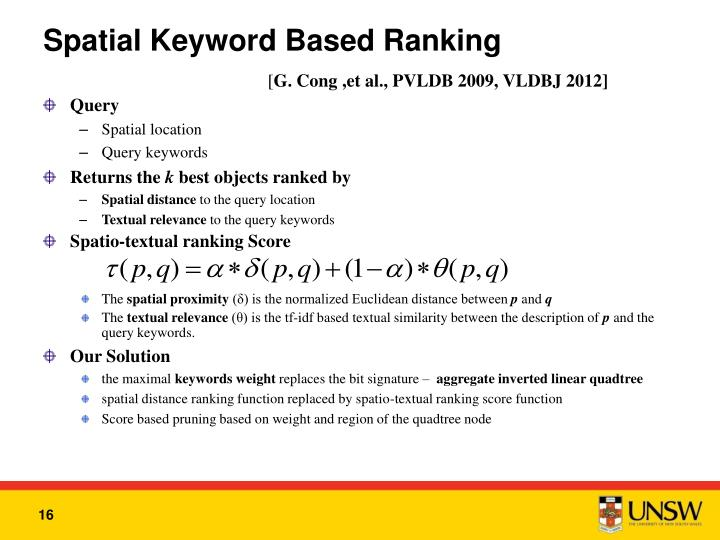 Spatial Keyword Based Ranking