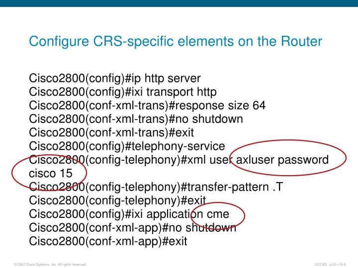 Configure CRS-specific elements on the Router