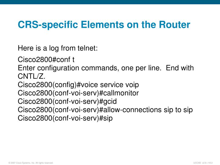 Crs specific elements on the router