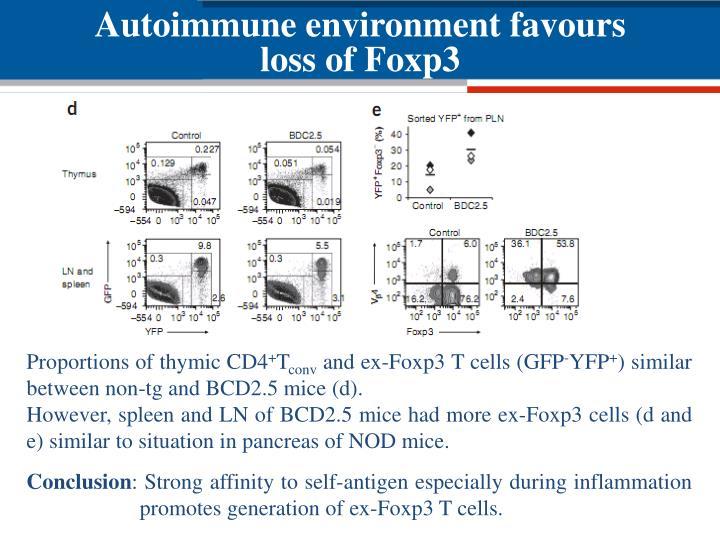 Autoimmune environment favours