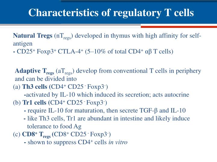 Characteristics of regulatory T cells