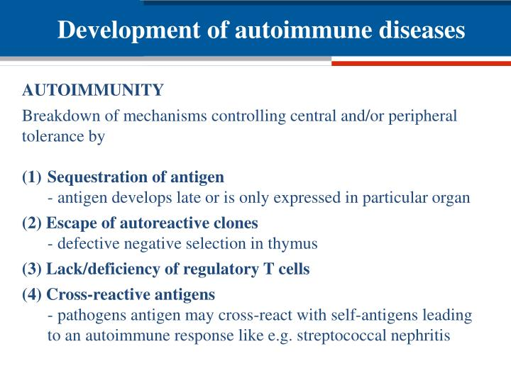 Development of autoimmune diseases