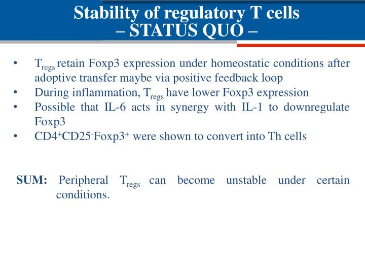 Stability of regulatory T cells
