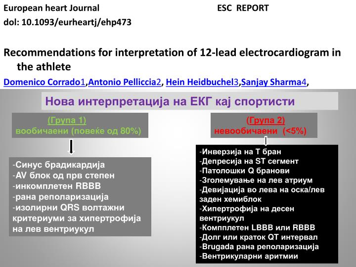 European heart Journal				ESC  REPORT