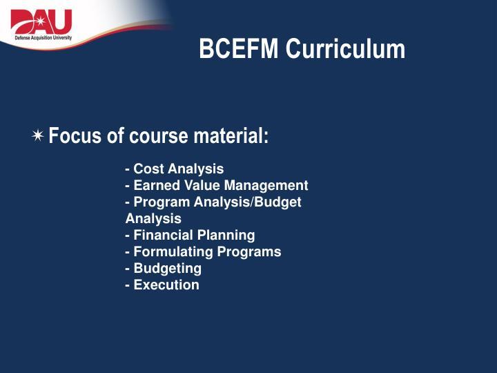 BCEFM Curriculum