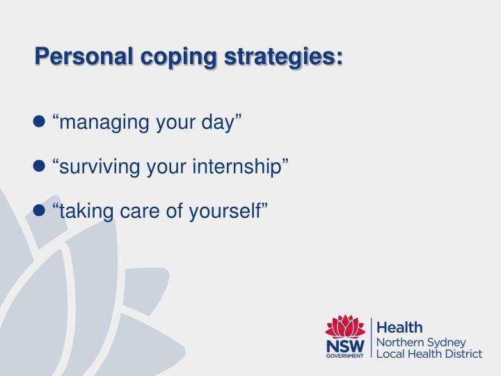 Personal coping strategies: