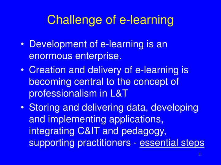 Challenge of e-learning