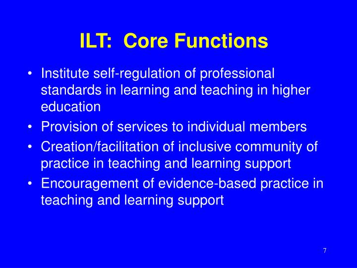ILT:  Core Functions