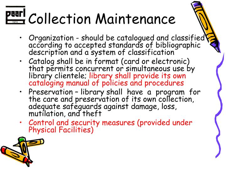 Collection Maintenance