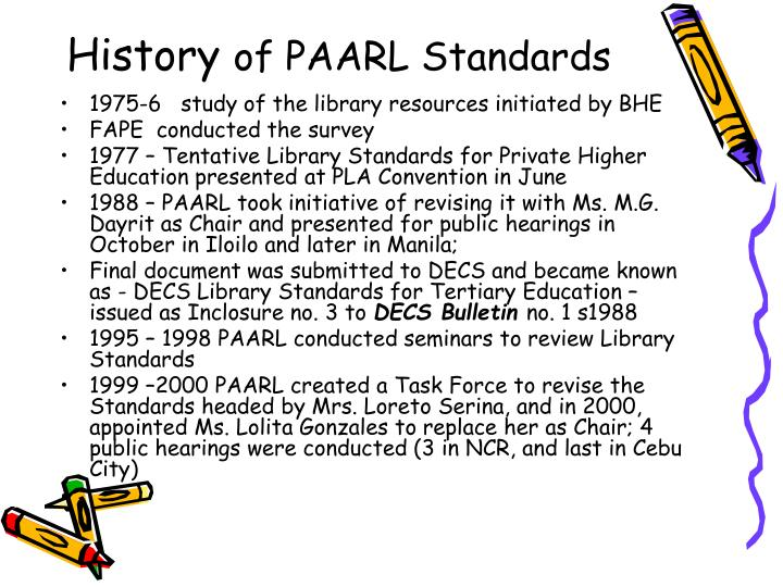 History of paarl standards