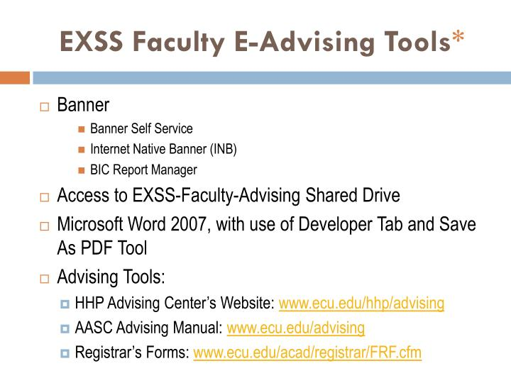EXSS Faculty E-Advising Tools