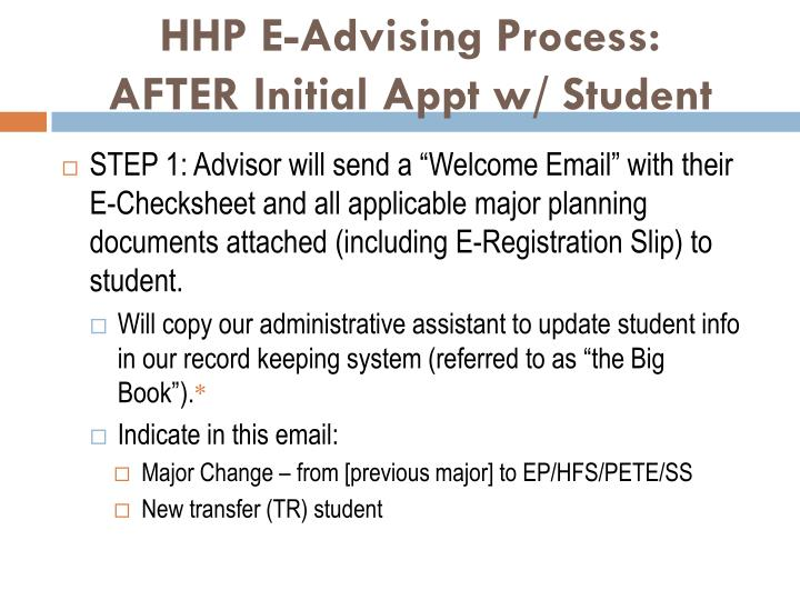 Hhp e advising process after initial appt w student