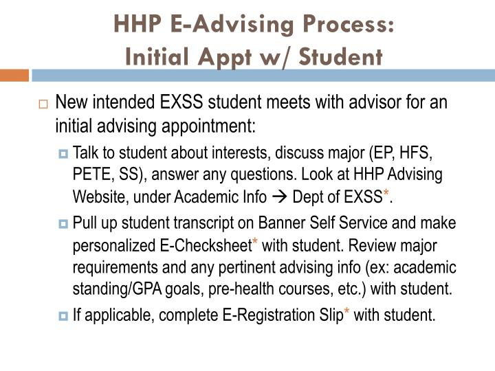 HHP E-Advising Process:
