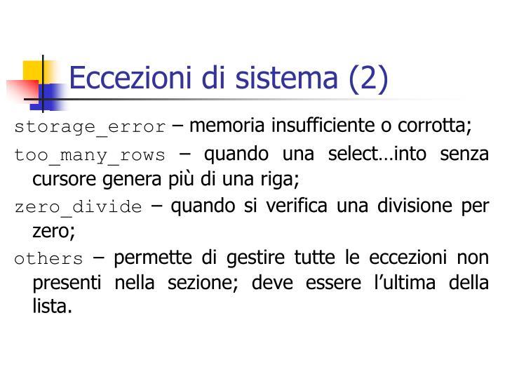 Eccezioni di sistema (2)