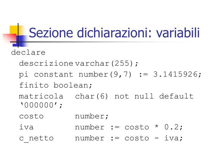 Sezione dichiarazioni: variabili