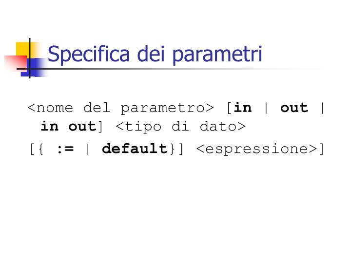 Specifica dei parametri