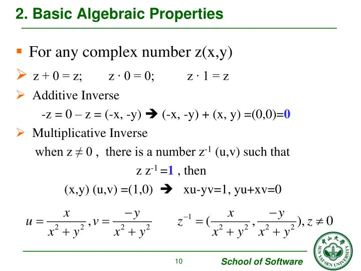 2. Basic Algebraic Properties