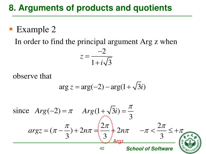 8. Arguments of products and quotients