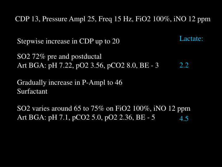 CDP 13, Pressure Ampl 25, Freq 15 Hz, FiO2 100%, iNO 12 ppm