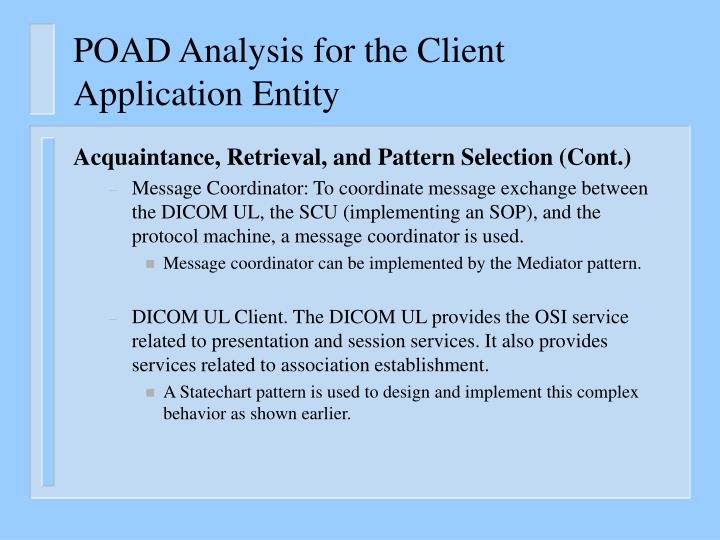 POAD Analysis for the Client Application Entity