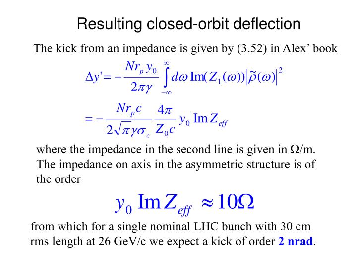 Resulting closed-orbit deflection