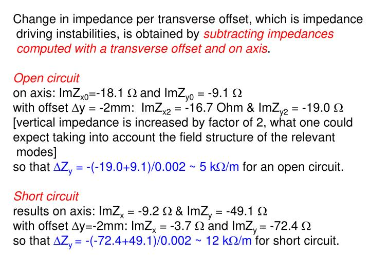 Change in impedance per transverse offset, which is impedance