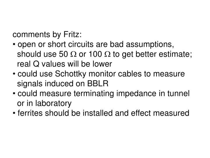 comments by Fritz: