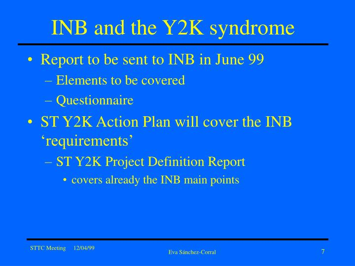 INB and the Y2K syndrome
