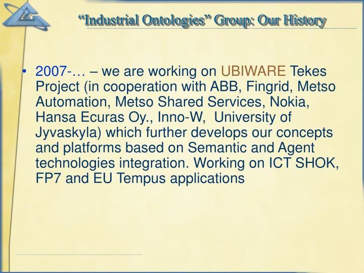 """Industrial Ontologies"" Group: Our History"