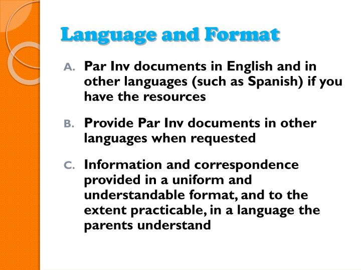 Language and Format