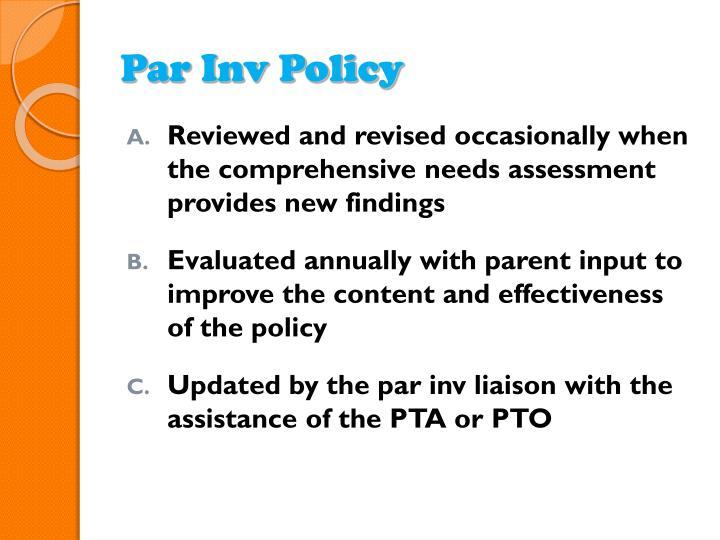 Par Inv Policy