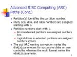 advanced risc computing arc paths cont