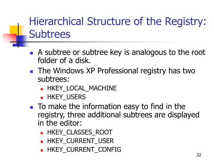 Hierarchical Structure of the Registry: Subtrees