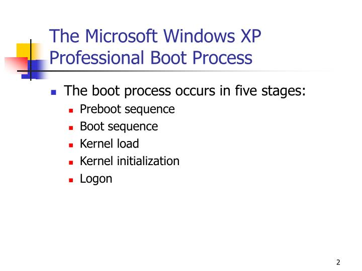 The microsoft windows xp professional boot process
