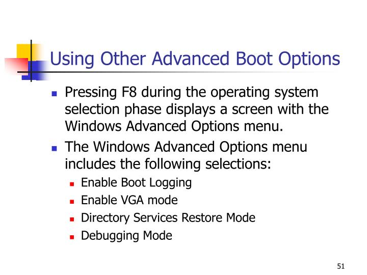 Using Other Advanced Boot Options