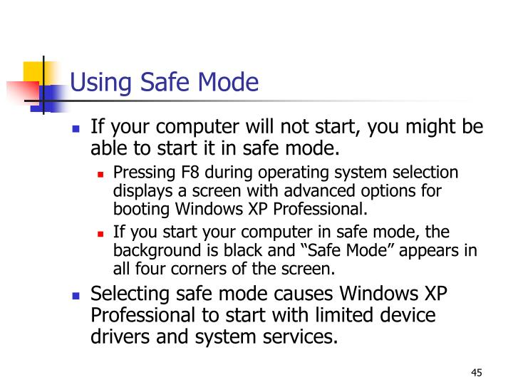 Using Safe Mode
