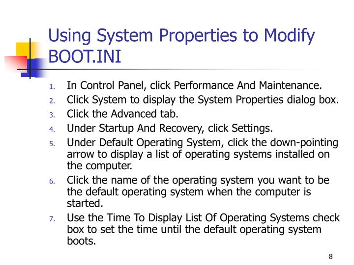 Using System Properties to Modify BOOT.INI