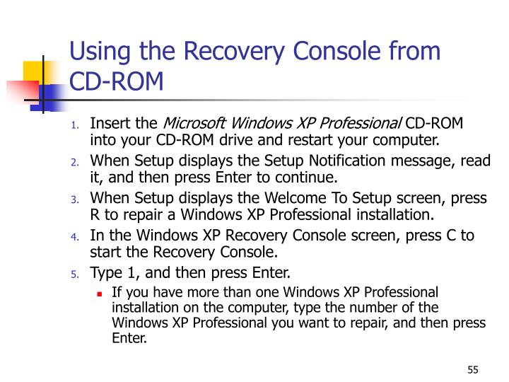 Using the Recovery Console from  CD-ROM