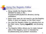 using the registry editor