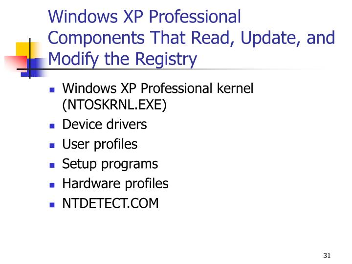 Windows XP Professional Components That Read, Update, and Modify the Registry