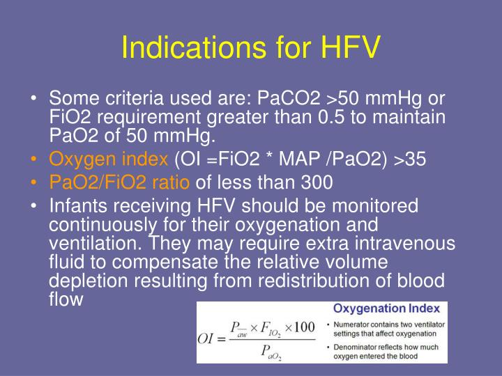 Indications for HFV