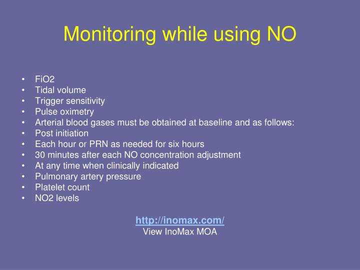 Monitoring while using NO