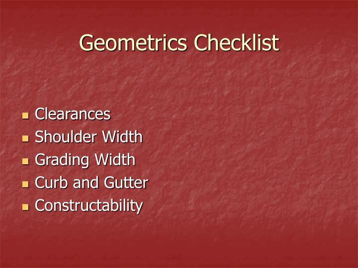 Geometrics Checklist