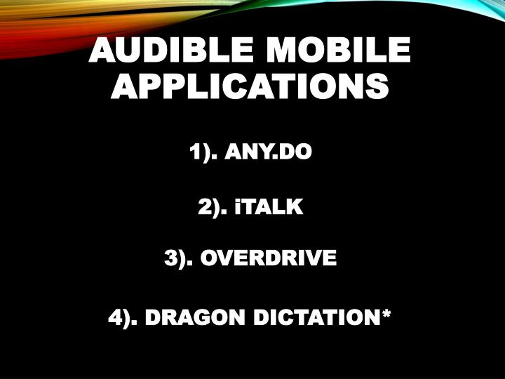 AUDIBLE MOBILE APPLICATIONS