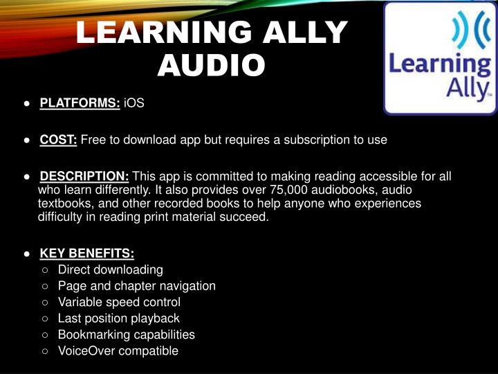 Learning Ally Audio