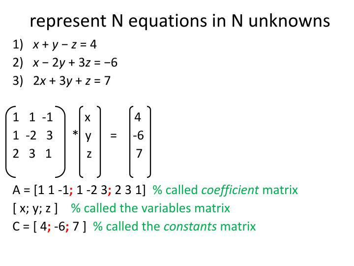 represent N equations in N unknowns