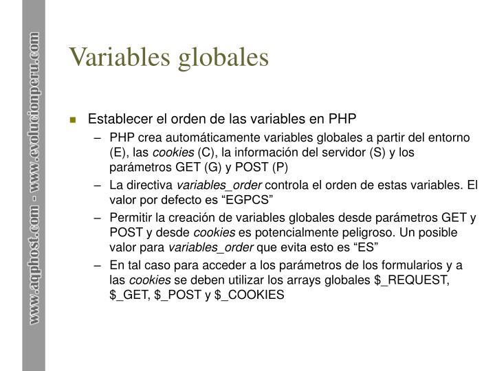 Variables globales