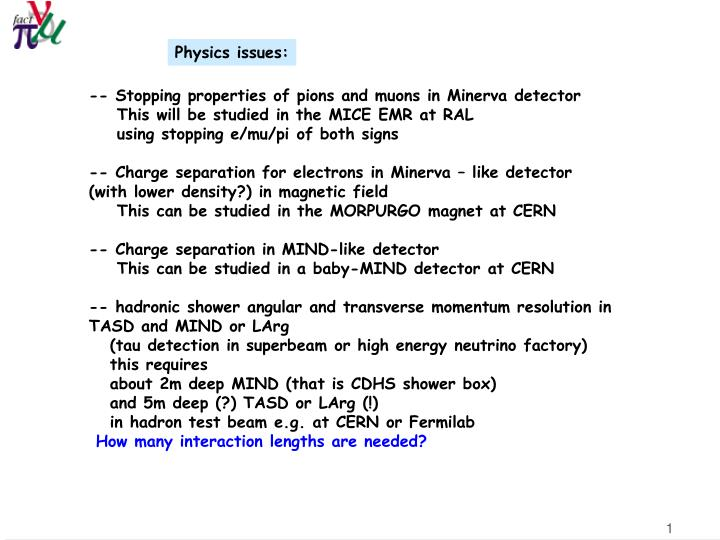 Physics issues: